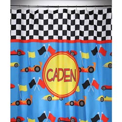 Personalized Race Car Shower Curtain