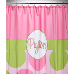Pink & Green Dot Personalized Shower Curtain
