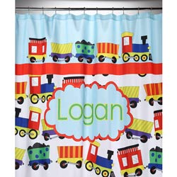 Personalized Train Shower Curtain