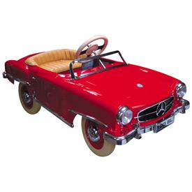Red mercedes metal pedal car for Mercedes benz pedal car