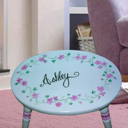 Pink Floral Oval Step Stool