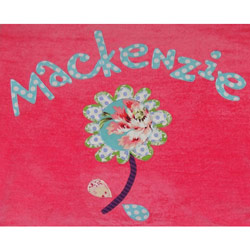 Personalized Flower Applique Bath Towel