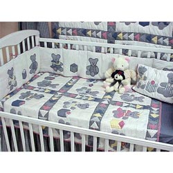 Blue Teddy Bear Crib Bedding