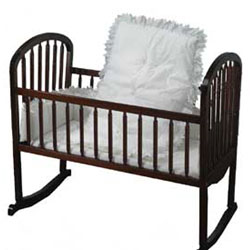 solid color eyelet portable crib bedding