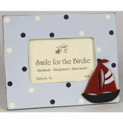 Blue Dot Sailboat Picture Frame