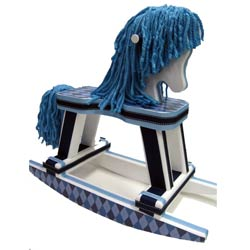 Navy Blue Argyle Rocking Horse