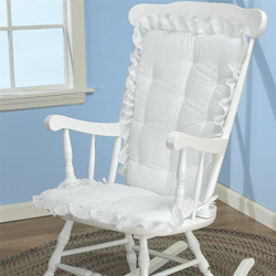 Attrayant White Eyelet Adult Rocking Chair Cushion