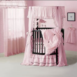 Sherbert  Pink Round Crib Bedding Set