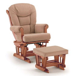 Golden Maple Glider and Ottoman