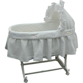 Short Pique Fleece Bassinet Set with Ribbon Bows