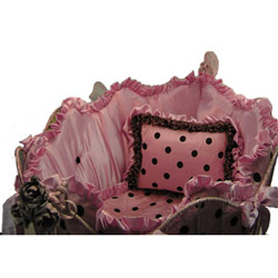 Silk Polka  Pink  & Chocolate  Cradle Bedding