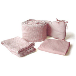 Pink Cable Knit Cradle Bedding
