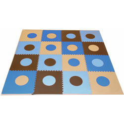 Blue and Brown Geometric Floor Mat