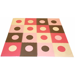 Pink and Brown Geometric Floor Mat