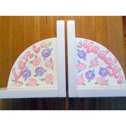 Personalized Pastel Flowers Bookends