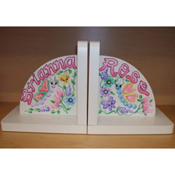 Personalized Springtime Bookends