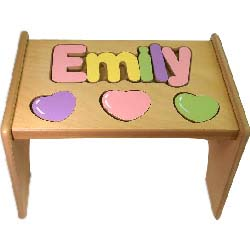 Personalized Heart Wooden Puzzle Stool