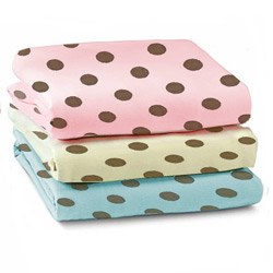 Brown Polka Dots Cotton Porta Crib Sheet