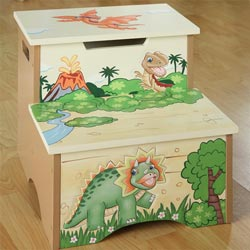 Dinosaur Kingdom Storage Step Stool
