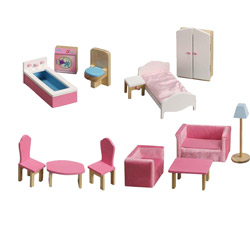 Deluxe 13 pc. Doll House Furniture Set