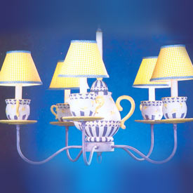 Blue n' Yellow Teapot Chandelier