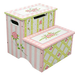 Pink Crackle Finish Storage Step Stool