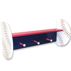 Baseball Shelf with Peg Hooks