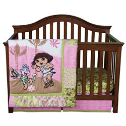 "Dora ""Exploring the Wild"" Crib to Toddler Bedding Set"