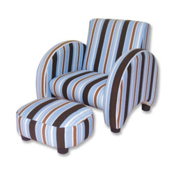 Striped Mod Chair with Ottoman