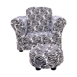 Black and White Zebra Club Chair with Ottoman