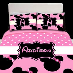 Personalized Light Pink Minnie Mouse Bedding Set