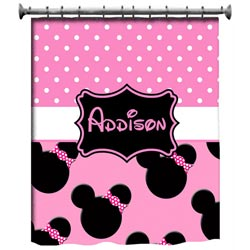 Personalized Light Pink Minnie Mouse Shower Curtain
