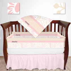 Personalized Floral Crib Bedding