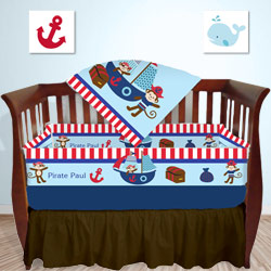 Personalized Nautical Pirate Crib Bedding Set
