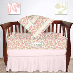 Personalized Shabby Chic Floral Crib Bedding