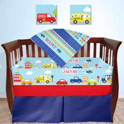 Personalized Transportation Crib Bedding