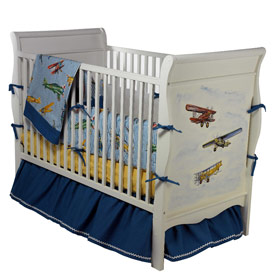 Vintage airplane nursery navy and red vintage airplane crib bedding set in a theme nursery with - Airplane baby bedding sets ...
