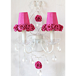 Fuschia Roses Double Light Wall Sconce
