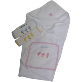 Personalized Hooded Towel and Washclothes