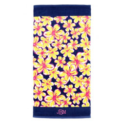 Personalized Beach Floral Beach Towel