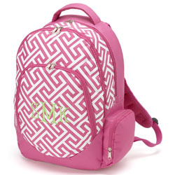 Personalized Pink Greek Key Backpack