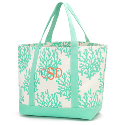 Personalized Mint Coral Canvas Tote Bag