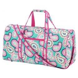 Personalized Mint Paisley Duffel Bag