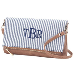 Personalized Navy Seersucker Crossbody Purse