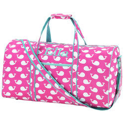 Personalized Pink Whale Duffel Bag
