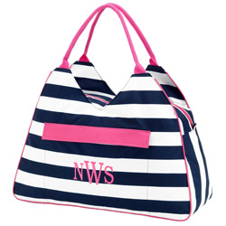 Personalized Prep Stripe Beach Bag