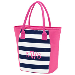 Personalized Prep Stripe Cooler Tote