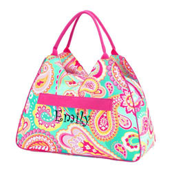 Personalized Summer Paisley Beach Bag