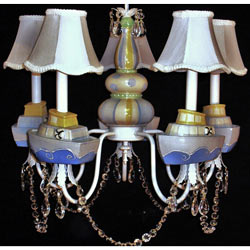 Yellow 'n Blue Nautical 5 Arm Chandelier