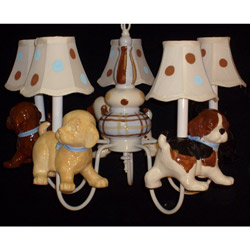 Adorable Puppies 5 Arm Chandelier